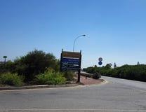 Σημάδι οδών της Κύπρου Aya Napa στοκ φωτογραφίες