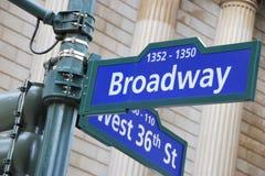 Σημάδι οδών Broadway και δύσης 36$ος Στοκ εικόνες με δικαίωμα ελεύθερης χρήσης