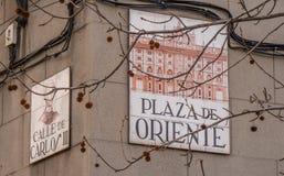 Σημάδι οδών Plaza de Oriente Στοκ φωτογραφία με δικαίωμα ελεύθερης χρήσης