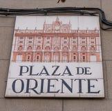 Σημάδι οδών Plaza de Oriente Στοκ Φωτογραφία