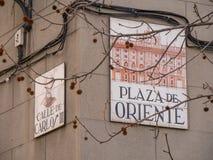 Σημάδι οδών Plaza de Oriente Στοκ εικόνες με δικαίωμα ελεύθερης χρήσης