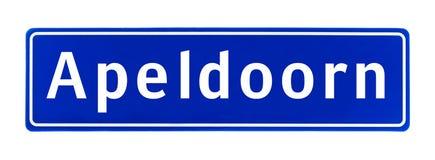 Σημάδι ορίου πόλεων του Άπελντορν, οι Κάτω Χώρες στοκ εικόνες