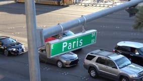 Σημάδι Παρίσι οδών στη λεωφόρο του Λας Βέγκας - ΗΠΑ 2017 απόθεμα βίντεο