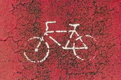 Σημάδι παρόδων ποδηλάτων που σύρεται στο λευκό Στοκ εικόνα με δικαίωμα ελεύθερης χρήσης