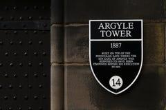 Σημάδι πληροφοριών του πύργου Argyle σε έναν τοίχο οικοδόμησης πετρών μέσα στο Εδιμβούργο Castle, Σκωτία, UK Στοκ Φωτογραφία