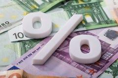 Σημάδι ποσοστού στα ευρο- τραπεζογραμμάτια στοκ φωτογραφίες