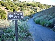 Σημάδι πρόσβασης παραλιών στην πορεία σε ένα ωκεάνιο πάρκο Καλιφόρνιας στοκ εικόνα με δικαίωμα ελεύθερης χρήσης