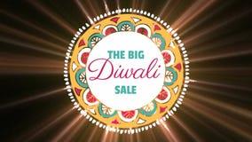 Σημάδι πώλησης Diwali στο φωτισμένο κλίμα απόθεμα βίντεο