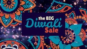 Σημάδι πώλησης Diwali στο floral σχέδιο και το φωτισμένο κλίμα διανυσματική απεικόνιση
