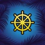 Σημάδι ροδών σκαφών διάνυσμα Χρυσό εικονίδιο με το μαύρο περίγραμμα στο μπλε ελεύθερη απεικόνιση δικαιώματος