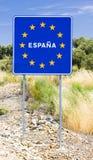 σημάδι στα σύνορα της Ισπανίας στοκ φωτογραφίες