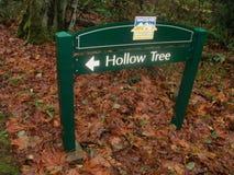 σημάδι στο κοίλο δέντρο στο πάρκο στοκ εικόνες