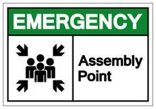 Σημάδι συμβόλων σημείου συνελεύσεων έκτακτης ανάγκης, διανυσματική απεικόνιση, που απομονώνεται στην άσπρη ετικέτα υποβάθρου EPS1 ελεύθερη απεικόνιση δικαιώματος