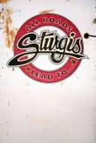 Σημάδι συνάθροισης ποδηλάτων Sturgis Στοκ Εικόνες