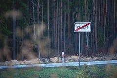 Σημάδι: Τέλος της πόλης Συγκεκριμένα: Πίλζεν, Δημοκρατία της Τσεχίας στοκ εικόνα με δικαίωμα ελεύθερης χρήσης