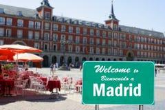 σημάδι της Μαδρίτης στην υπ&o Στοκ Εικόνες