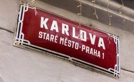 Σημάδι της μεσαιωνικής οδού Karlova στο παλαιό μέρος της Πράγας στοκ φωτογραφία με δικαίωμα ελεύθερης χρήσης