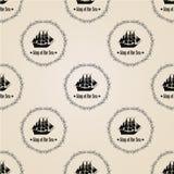 Σημάδι του βασιλιά της θάλασσας άνευ ραφής διάνυσμα προτύπ&omeg Στοκ Εικόνα