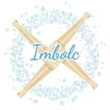 Σημάδι του σταυρού της Brigid Imbolc Αρχή των ειδωλολατρικών διακοπών άνοιξη σε ένα στεφάνι snowflakes Διανυσματική κάρτα ελεύθερη απεικόνιση δικαιώματος