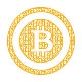 Σημάδι του bitcoin που γεμίζουν με τα μηδενικά και τους αυτούς σύμβολο διανυσματική απεικόνιση