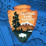 Σημάδι υπηρεσιών αμερικανικών εθνικό πάρκων στη Βοστώνη, ΗΠΑ στοκ εικόνα