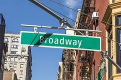 Σημάδι Broadway οδών στη Νέα Υόρκη Στοκ εικόνες με δικαίωμα ελεύθερης χρήσης