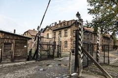 Σημάδι frei Arbeit macht σε Auschwitz Ι στρατόπεδο συγκέντρωσης, Oswiec Στοκ Εικόνα