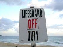 Σημάδι Lifeguard εκτός υπηρεσίας Στοκ Εικόνες