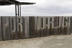 Σημάδι Noarlunga λιμένων στο λιμενοβραχίονα στοκ φωτογραφία