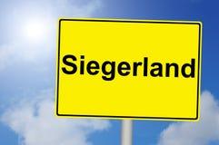 Σημάδι Siegerland με το υπόβαθρο ουρανού Στοκ εικόνες με δικαίωμα ελεύθερης χρήσης