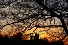 Σημάνετε το χρονικό ηλιοβασίλεμα στο πάρκο του Γκρήνουιτς στοκ φωτογραφίες με δικαίωμα ελεύθερης χρήσης