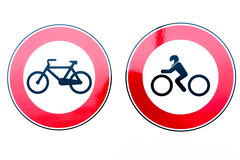 Σημάδια απαγόρευσης ποδηλάτων και μοτοσικλετών στοκ εικόνες