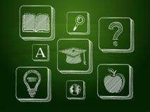 Σημάδια εκπαίδευσης κιμωλίας πέρα από τον πράσινο πίνακα Στοκ Φωτογραφία