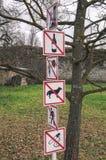 Σημάδια και σύμβολα απαγόρευσης Στοκ Εικόνα