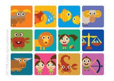 Σημάδια κινούμενων σχεδίων zodiac Στοκ φωτογραφία με δικαίωμα ελεύθερης χρήσης