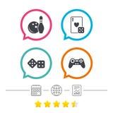 Σημάδια μπόουλινγκ και χαρτοπαικτικών λεσχών Τηλεοπτικό πηδάλιο παιχνιδιών απεικόνιση αποθεμάτων