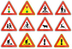 Σημάδια που χρησιμοποιούνται οδικά στη Σλοβακία Στοκ Εικόνες