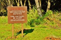 Σημάδια προσοχής κρατικών πάρκων haleakala Maui Στοκ Εικόνα