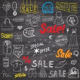 Σημάδια πώλησης και ετικέττες έκπτωσης τιμών, αγορές σχετικά σύμβολα Hand-Drawn σύνολο στοιχείων σχεδίου με γραπτή τη χέρι εγγραφ Στοκ Φωτογραφίες
