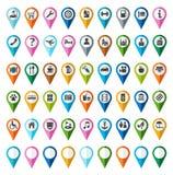 Σημάδια, σύμβολα, αντικείμενα, τοποθεσία, πόλη, χρώμα, επίπεδο ελεύθερη απεικόνιση δικαιώματος