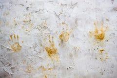 Σημάδια χεριών στον τοίχο Στοκ Εικόνες
