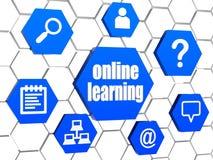Σημάδια on-line εκμάθησης και Διαδικτύου μπλε hexagons Στοκ Εικόνες