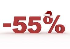 55 σημάδι έκπτωσης τοις εκατό στο καπέλο Άγιου Βασίλη Στοκ φωτογραφίες με δικαίωμα ελεύθερης χρήσης