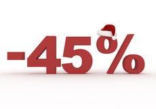 45 σημάδι έκπτωσης τοις εκατό στο καπέλο Άγιου Βασίλη Στοκ Εικόνες