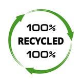 σημάδι 100 ανακυκλωμένο τοις εκατό βελών Στοκ Εικόνες