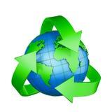 Σημάδι ανακύκλωσης και μια σφαίρα Στοκ Φωτογραφίες