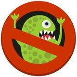 Σημάδι απαγόρευσης στην επιθετικότητα ιών Στοκ Εικόνα