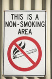 Σημάδι απαγόρευσης του καπνίσματος που δείχνει τον κίνδυνο Στοκ εικόνα με δικαίωμα ελεύθερης χρήσης