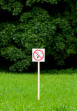 Σημάδι απαγόρευσης του καπνίσματος στο πάρκο στα βεραμάν δέντρα και το υπόβαθρο χλόης απεικόνιση αποθεμάτων