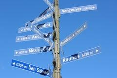 Σημάδι απόστασης πόλεων στοκ εικόνα